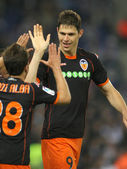 Zigic of Valencia CF celebrates goal — Stock Photo