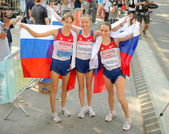 Kirdyapkina, Kaniskina and Sokolova of Russia winners on Women 20km Walk — Stockfoto