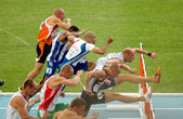 Competitors of 110m Hurdles Men — Stock Photo