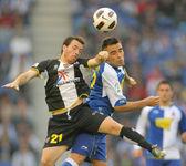 Ruben(L) of Levante and Duscher(R) of Espanyol — Stockfoto