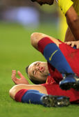 Iniesta of FC Barcelona injured — Stock Photo