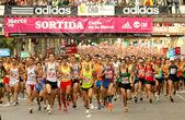 Runners on start of Cursa de la Merce — Stock Photo