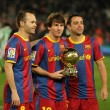 Iniesta, Messi and Xavi of Barcelona — Stock Photo #18567057