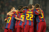 Players group of FC Barcelona — Stock Photo