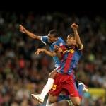 Постер, плакат: Kale Uche L of Almeria fights with Keita R of Barcelona