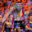 Xavi Hernandez and Carles Puyol of FC Barcelonhold LLigtrophy — Stock Photo #18736805