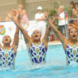 Japan synchro swimmers team in a Free Team Rutine — Foto de Stock
