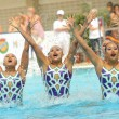 Stock Photo: Japsynchro swimmers team in Free Team Rutine