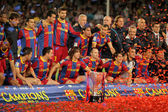 FC Barcelona's players celebrate La Liga trophy — Zdjęcie stockowe