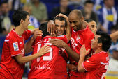 Alfaro, Negredo, Kanoute and Medel of Sevilla FC Celebrates goal — Stock Photo