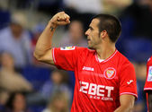 Alvaro Negredo of Sevilla FC Celebrates goal — Stock Photo