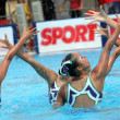 Japanese synchro swimmers in a Team — Stok fotoğraf