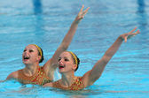 French synchro swimmers Sara Labrousse and Chloe Willhelm — Stock Photo