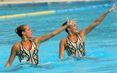 Argentinian synchro swimmers Etel and Sofia Sanchez — Stock Photo
