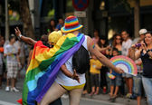 Two young men pose for a picture during the annual Barcelona Gay and Lesbian Pride Festival — Stock Photo