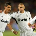 Постер, плакат: Karim Benzema R and Cristiano Ronaldo L
