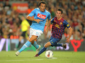 Salvatore Aronica(L) of SSC Napoli followed by Ignacio Cuenca — Stock Photo