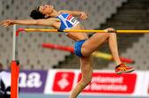 Ruth Beitia of Spain jumping on Hight jump — Foto de Stock