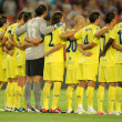 Villarreal team in silence minute — Stock Photo