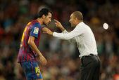Guardiola trainer of FC Barcelona — Stock Photo