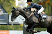 Angelica Augustsson in action rides horse Walter 61 — Stock Photo