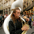 Stock Photo: Trombonist of music troop Yuri i lsevbandde cosmonautes