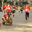 Athlete with mobility disabilities running in Barcelona - Stock Photo