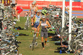 Triathletes on transition zone of Barcelona — Stock Photo