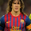 Carles Puyol of FC Barcelonholds LLigtrophy — Stock Photo #19133571