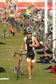 Triathlete on transition zone — Stock Photo