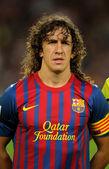 Carles Puyol of FC Barcelona holds the La Liga trophy — Stock Photo