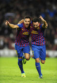 Alexis Sanchez and Xavi Hernandez of FC Barcelona — Stock Photo