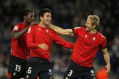 Javad Nekounam(L) and Ruben Gonzalez(R) of Osasuna celebrates goal — 图库照片