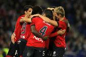 Osasuna oyuncuların gol kutluyor — Stok fotoğraf