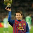 Leo Messi holds up his Golden ball — Stock Photo #19166339