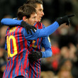 Leo Messi with CristiTello of FC Barceloncelebrate goal — Stock Photo #19173231
