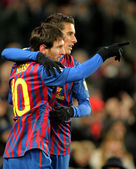 Leo Messi with Cristian Tello of FC Barcelona celebrate goal — Stock Photo