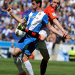 Alvaro Vazquez of Espanyol fights with Jeremy Mathieu of Valencia CF — Stock Photo