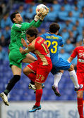 Juan Pablo Colinas(C) of Gijon block the ball — Stock Photo
