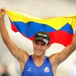 Eider Arevalo of Colombia celebrate gold — Stock Photo #19256853