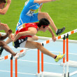 Shunya Takayama(R) of Japan during 110m men hurdles event — 图库照片