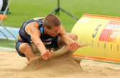 Gunnar Nixon of USA during Long Jump Decathlon event — Stock Photo