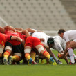 USAP Perpignan players scrumming - Stock Photo