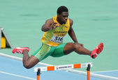 Jarvan Gallimore of Jamaica during 400m hurdles event — Stock Photo