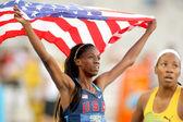 Ashley Spencer of USA celebrating gold — Stock Photo