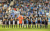 Real Valladolid team in silence minute — Stock Photo