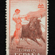 Bullfight illustration stamp — Stock Photo