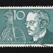 Stock Photo: Vintage 10 Marks Germstamp of Rudolf Diesel