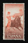 Bullfight illustration stamp — Stock Photo