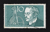 Vintage 10 Marks German stamp of Rudolf Diesel — Stock Photo